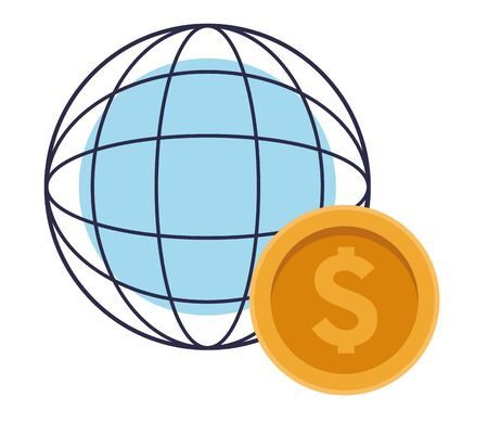 globe world sphere with money coin icon cartoon Illustration
