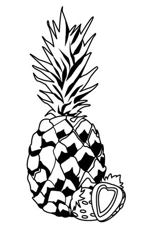 delicious mix of fruit with strawberries and pineapple icon cartoon in black and white vector illustration graphic design
