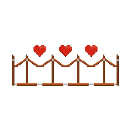 videogame pixelated retro art digital entertainment, hearts with luxury barricade cartoon vector illustration graphic design