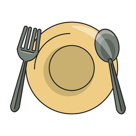 restaurant food and cuisine plate with cutlery, fork and spoon icon cartoons vector illustration graphic design