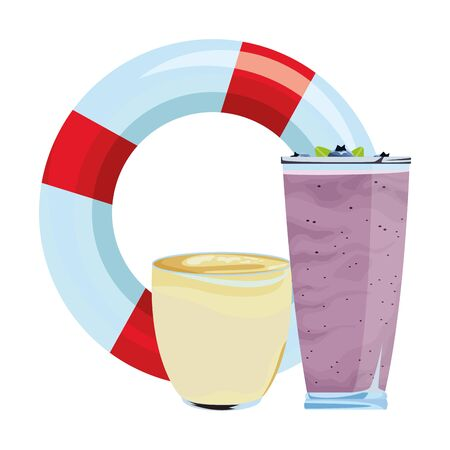 summer beach and vacation with lifebuoy and smoothie drink icon cartoon vector illustration graphic design