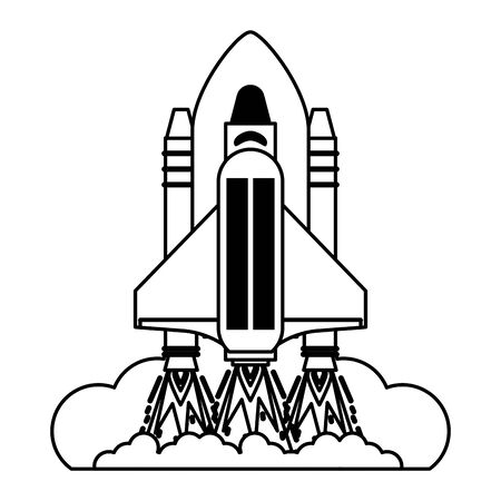 Spaceship taking off symbol isolated vector illustration graphic design 向量圖像