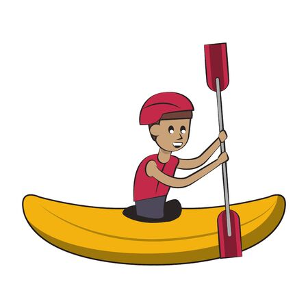 Water sport man in kayak with rowing cartoon isolated vector illustration graphic design