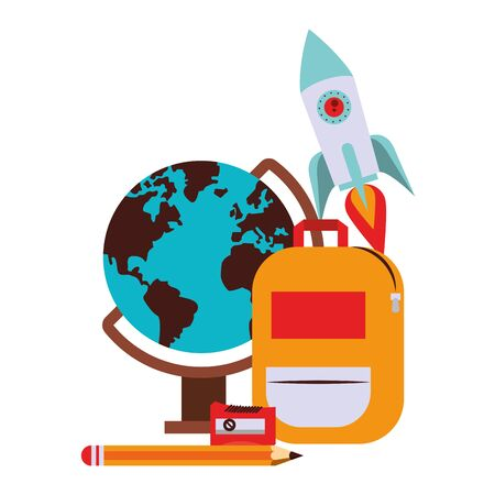 Back to school education world globe and backpack with spaceship and pencil cartoons vector illustration graphic design 向量圖像