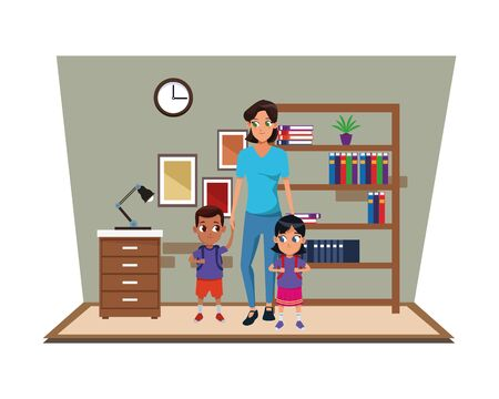 Family single mother with two kids holding school backpacks in study room scenery ,vector illustration.