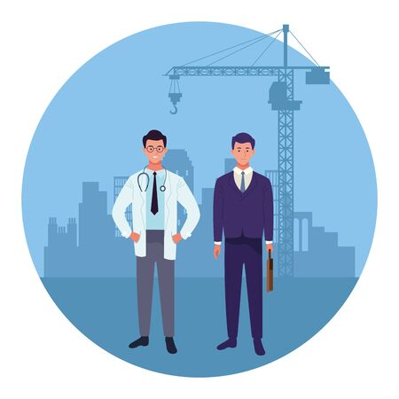 labor day employment occupation national celebration,doctor with business man workers in front city construction view cartoon vector illustration graphic design