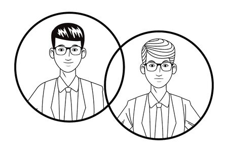 two businessmen wearing suit and glasses avatar cartoon character profile picture portrait in round icons black and white vector illustration graphic design Banque d'images - 129328130