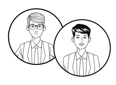 two businessmen wearing suit and glasses and smiling avatar cartoon character profile picture portrait in round icons black and white vector illustration graphic design Stock Vector - 129328129