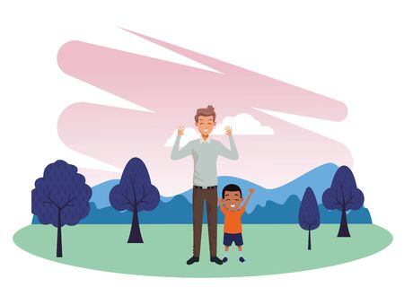 Family single father and little son smiling cartoon in nature outdoors park scenery vector illustration graphic design.