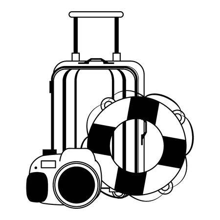 Summer luggage lifesaver and camera cartoons vector illustration graphic design