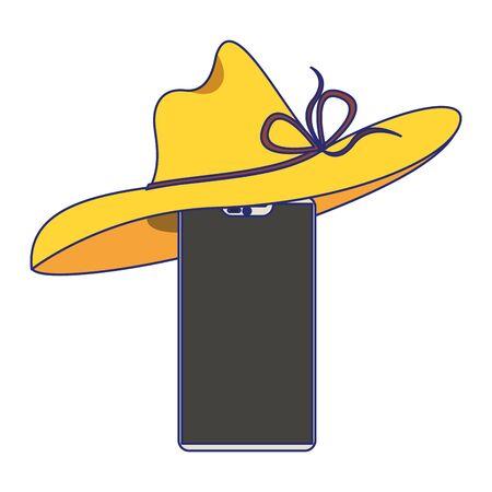 Smartphone with summer hat cartoon vector illustration graphic design