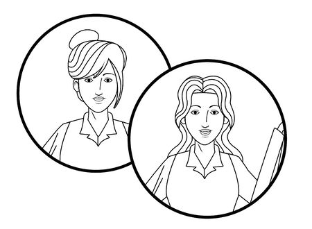 two businesswomen with bun and long hair girls avatar cartoon character profile picture portrait in round icons black and white vector illustration graphic design Banque d'images - 129328308