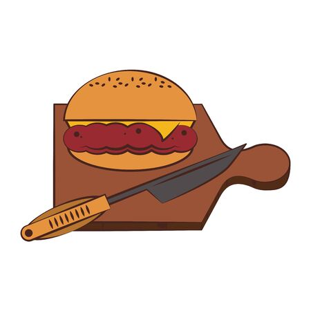 Barbecue food hamburger and knife in table vector illustration graphic design
