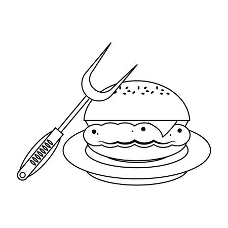 Barbecue food hamburger on dish with fork vector illustration graphic design