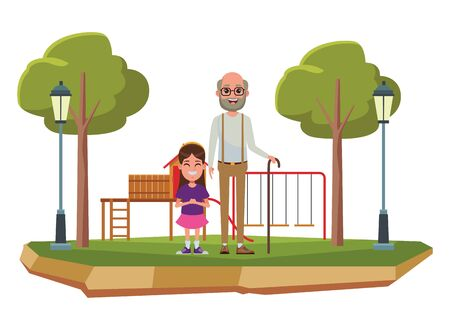 family avatar grandfather with beard and glasses next to a child profile picture cartoon character portrait outdoor over the grass in the playground with slide, swing, street lamps and tree vector illustration graphic design Banque d'images - 129328376