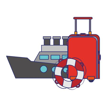 Summer luggage float and cruise ship cartoons vector illustration graphic design Иллюстрация