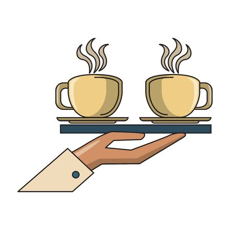 drink hand holding a tray with two big cups of coffee icon cartoons vector illustration graphic design