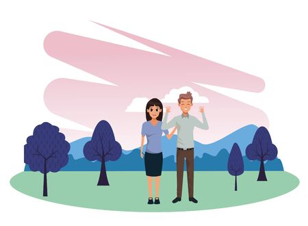 Young executive man and woman couple smiling and greeting cartoon in nature outdoors park scenery vector illustration graphic design.