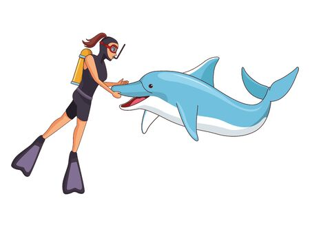 scuba diver avatar woman diving with happy dolphin vector illustration graphic design