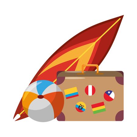 Summer and travel suitcase beach ball and surf board cartoons vector illustration graphic design