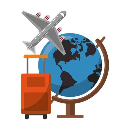 Summer airplane earth globe and luggage cartoons vector illustration graphic design