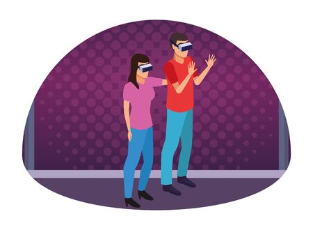 virtual reality technology, young couple living a modern digital experience with headset glasses touching air cartoon on purple digital background ,vector illustration. Illusztráció