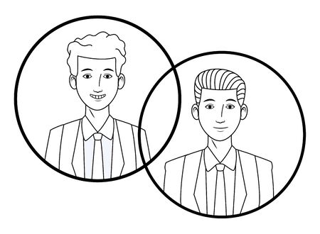 two businessmen wearing suit and smiling avatar cartoon character profile picture portrait in round icons black and white vector illustration graphic design Stock Vector - 129330603