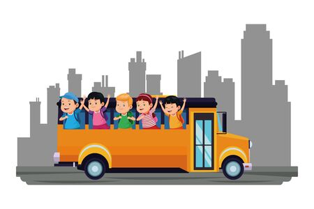 School kids greeting from bus sideview over cityscape buildings background ,vector illustration graphic design.
