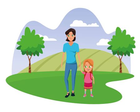Family single mother with daugther holding school backpack in nature park scenery background vector illustration graphic design