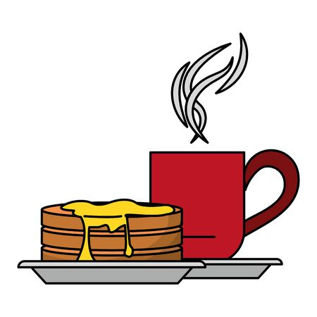 Pancakes and coffee mug american breakfast cartoon vector illustration graphic design