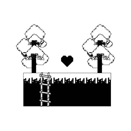 videogame pixelated retro art digital entertainment, heart with stair cartoon vector illustration graphic design