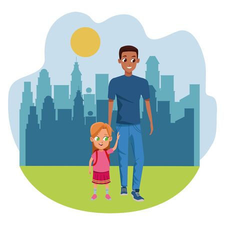 Family single father with kid holding school backpack in the city park scenery ,vector illustration.