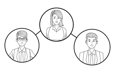 group of three business people smiling Illustration