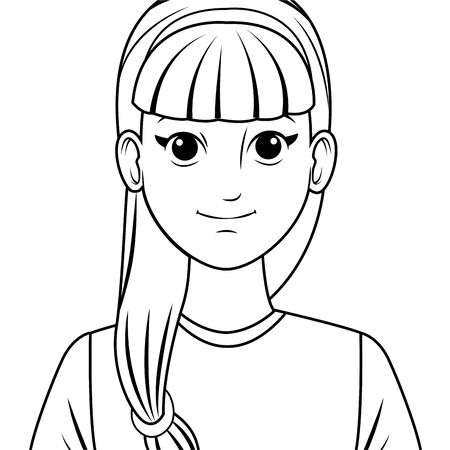 young woman with bandana avatar cartoon character in black and white vector illustration graphic design Banque d'images - 129330807