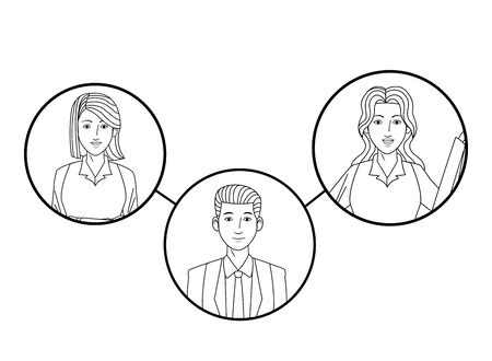 group of three business people cartoon character profile picture in round icon black and white vector illustration graphic design Banque d'images - 129353458