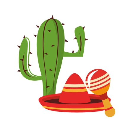 mexico culture and foods cartoons mariachi hat and cactus also the rattle vector illustrationgraphic design Zdjęcie Seryjne - 129253662