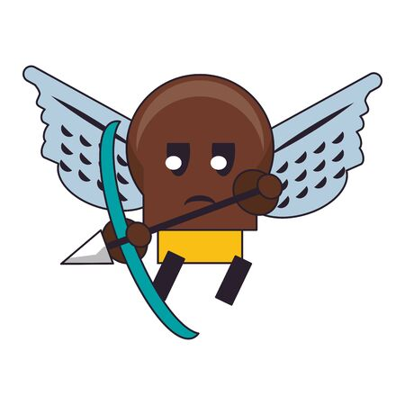 Videogame enemy character with wings and arch cartoon vector illustration graphic design Foto de archivo - 129253660