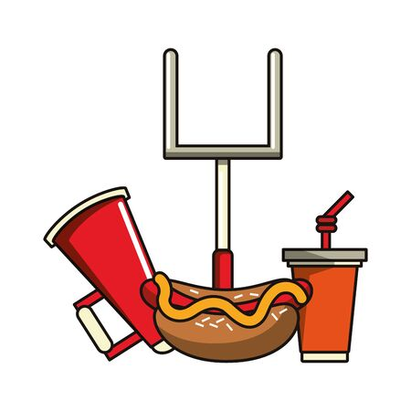 American football hot dog with soda cup and goal poster cartoons vector illustration graphic design