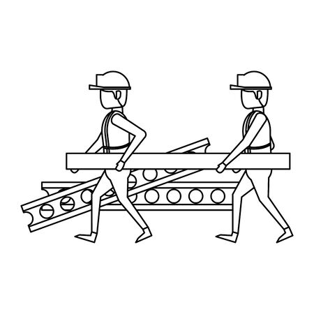 construction architectural engineering work, workers making heavy work in construction site cartoon vector illustration graphic design Ilustração