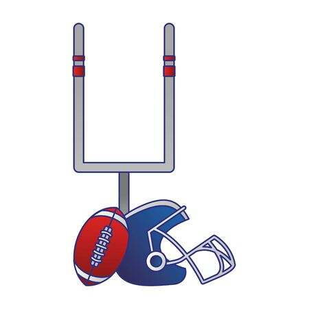 american football sport game goal post with ball and helmet cartoon vector illustration graphic design  イラスト・ベクター素材