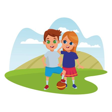 Kids friends boy and girl playing with ball and smiling cartoons in nature park outdoors scenery background ,vector illustration graphic design. Standard-Bild - 129260421