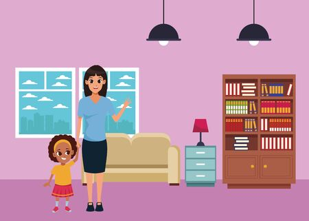 Family single mother with daughter cartoon inside home living room with sofa and library scenery ,vector illustration graphic design.