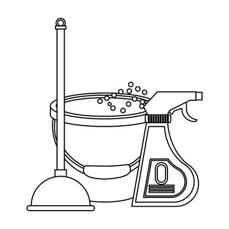 Equipo de limpieza y balde de productos con agua y desinfectante con diseño gráfico de ilustración de vector de bomba de inodoro.