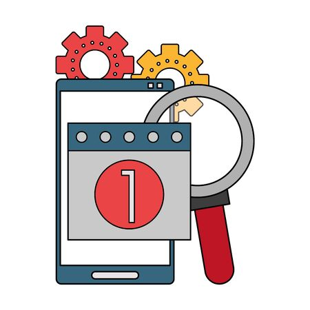 Technical support technology group of symbols, online help service. vector illustration graphic design Ilustracja