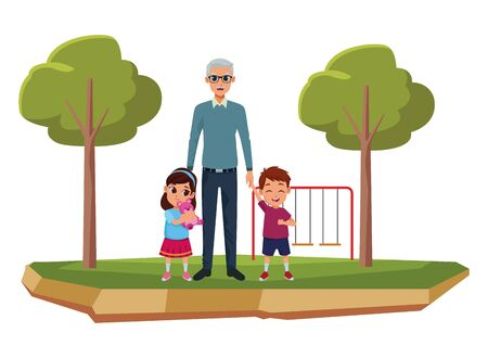 Family grandchildren and grandfather of hand with park playground games scenery ,vector illustration graphic design.
