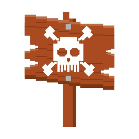 videogame pixelated retro art digital entertainment, wooden skull sign cartoon vector illustration graphic design
