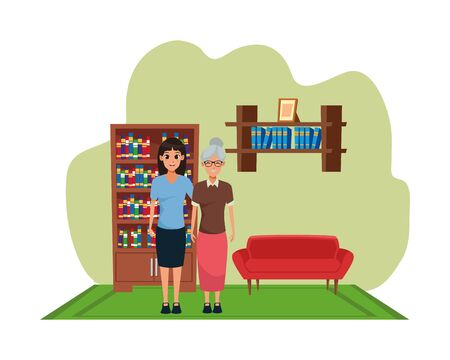 Family mother with adult daugther together cartoon inside home living room with sofa and library scenery ,vector illustration graphic design. Stok Fotoğraf - 129260576