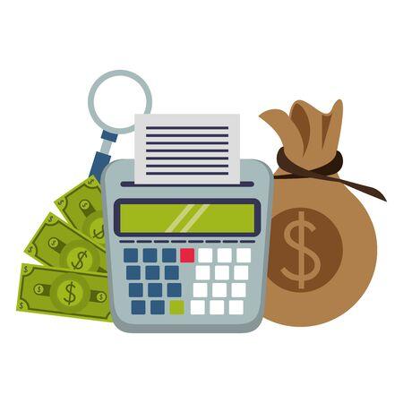 saving money business personal finance balance calculate elements cartoon vector illustration graphic design Ilustracja