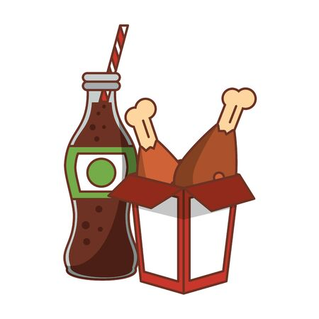 Food chicken fried box and cola soda bottle isolated vector illustration graphic design Ilustracja