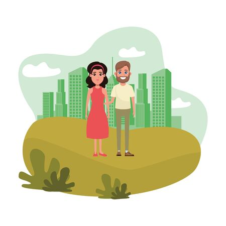 couple avatar man with beard and brunette woman wearing bandana and dress profile picture cartoon character portrait